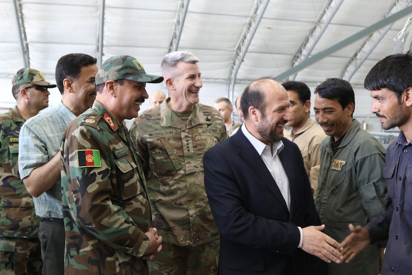 KABUL, Afghanistan (June 22, 2017) — Gen. John Nicholson, Resolute Support commander, visits Train, Advise, Assist Command – Air to assess the impact and progress of the AAF in the war against terrorism. Minister of Defense Maj. Gen. Tariq Shah Bahrami and the Minister of Interior Taj Muhammad Jahid were also present during the briefing and tour of the AAF aircrafts.