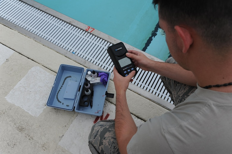 Airman 1st Class Michael Mannarino, 14th Medical Operations Squadron Bioenvironmental Technician, reads a device used to read the pH level in water June 21, 2017, at Columbus Air Force Base, Mississippi. The Bioenvironmental Flight uses a range of tools to test water, air and soil for hazardous materials. (U.S. Air Force photo by Airman 1st Class Beaux Hebert)