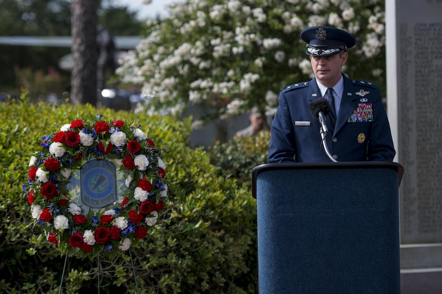 Maj. Gen. Mike Plehn, vice commander of Air Force Special Operations Command, speaks during the Operation Eagle Claw memorial ceremony at Hurlburt Field, Fla., June 23, 2017. Operation Eagle Claw was an attempted rescue mission on April 24, 1980, into Iran to liberate more than 50 American hostages captured after a group of radicals took over the American embassy in Tehran, Nov. 4, 1979. The mission resulted in the deaths of eight U.S. service members at a remote site deep in Iranian territory known as Desert One. (U.S. Air Force photo by Airman 1st Class Joseph Pick)