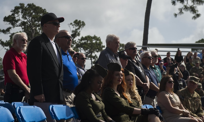 Veterans of Operation Eagle Claw stand as they are recognized during a memorial ceremony at Hurlburt Field, Fla., June 23, 2017. Operation Eagle Claw was an attempted rescue mission on April 24, 1980, into Iran to liberate more than 50 American hostages captured after a group of radicals took over the American embassy in Tehran, Nov. 4, 1979. (U.S. Air Force photo by Airman 1st Class Joseph Pick)