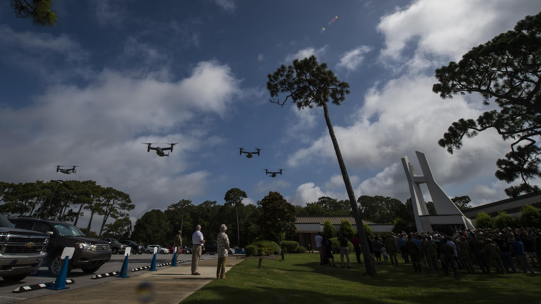 Four CV-22 Osprey tiltrotor aircraft from the 8th Special Operations Squadron fly over during the Operation Eagle Claw memorial ceremony at Hurlburt Field, Fla., June 23, 2017. Operation Eagle Claw was an attempted rescue mission on April 24, 1980, into Iran to liberate more than 50 American hostages captured after a group of radicals took over the American embassy in Tehran, Nov. 4, 1979. (U.S. Air Force photo by Airman 1st Class Joseph Pick)