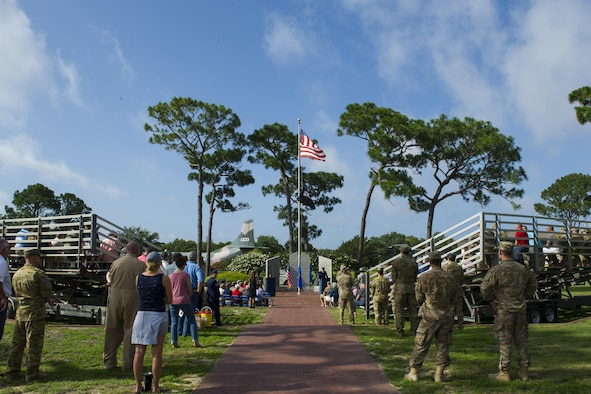 Air Commandos attend the Operation Eagle Claw memorial ceremony at Hurlburt Field, Fla., June 23, 2017. Operation Eagle Claw was an attempted hostage-rescue mission in 1980 that resulted in five, 8th Special Operations Squadron Airmen and three Marines sacrificing their lives when two of the involved aircraft collided at the Desert One staging site. (U.S. Air Force photo by Airman 1st Class Joseph Pick)