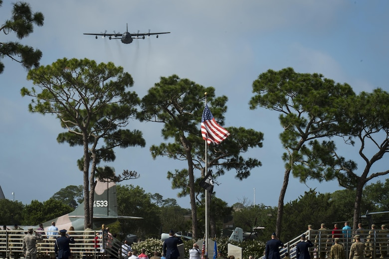 A 15th Special Operations Squadron MC-130H Combat Talon II flies over the Operation Eagle Claw memorial ceremony at Hurlburt Field, Fla., June 23, 2017. Operation Eagle Claw was an attempted hostage-rescue mission in 1980. The mission resulted in five, 8th Special Operations Squadron Airmen and three Marines sacrificing their lives when two of the involved aircraft collided at the Desert One staging site. (U.S. Air Force photo by Airman 1st Class Joseph Pick)
