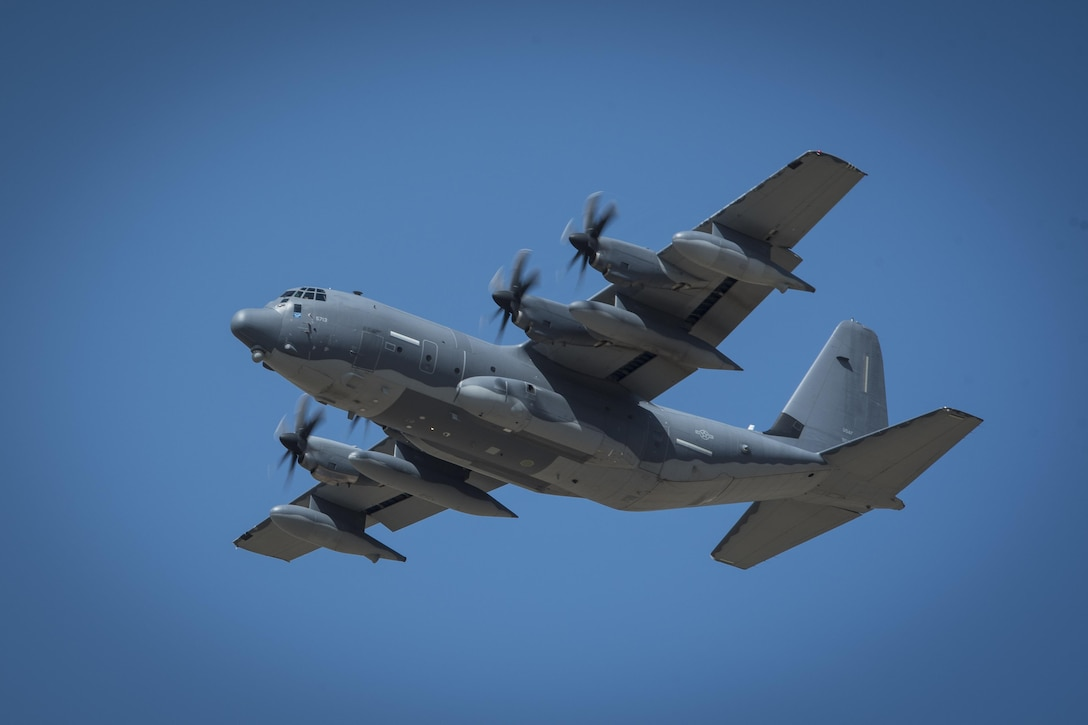 A MC-130J Commando II soars, being used for a 'fini flight,' over New Mexico Jun. 1, 2017. Dating back to World War II, the U.S. military has celebrated pilots' and other experienced officers' final flights either at their current unit or their career. Pilots use these celebrations as another opportunity to help train accompanying Airmen on their roles aboard the aircraft to ensure mission readiness. (U.S. Air Force photo by Senior Airman Shelby Kay-Fantozzi)