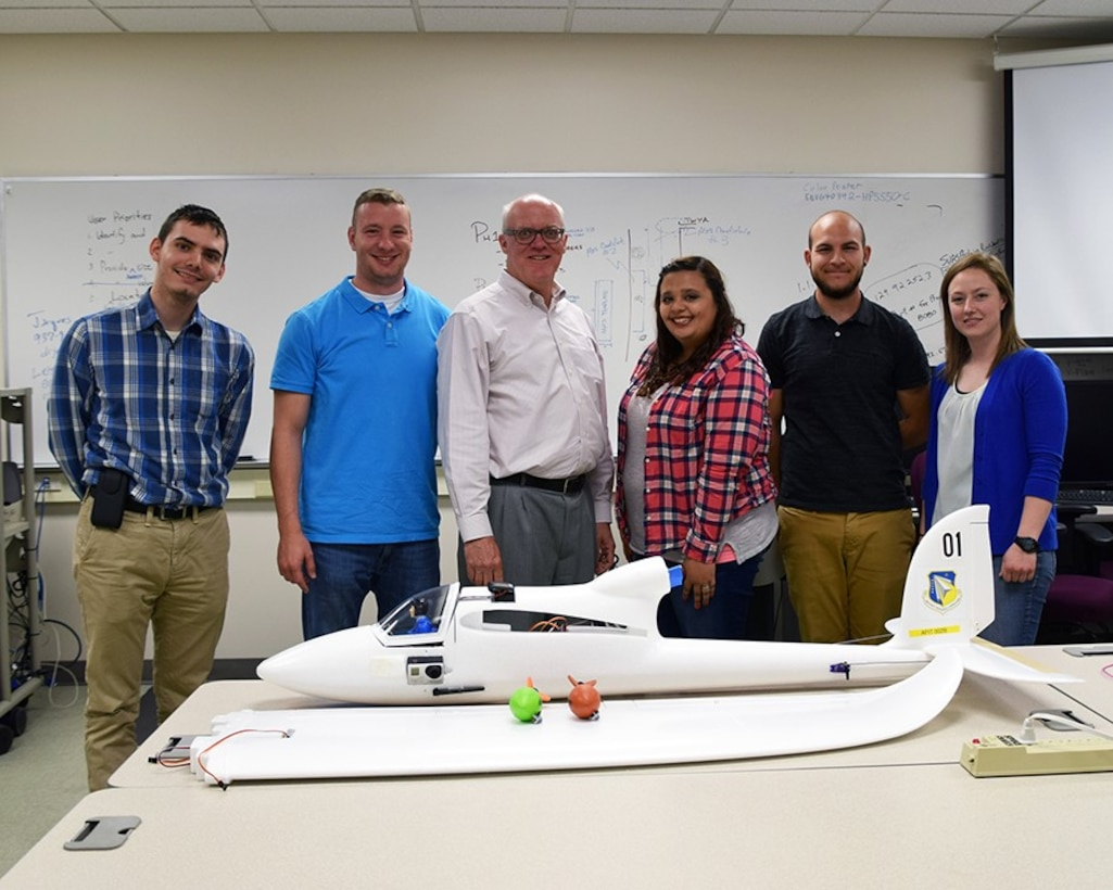 AFIT faculty member Dr. David Jacques (center), with SUCCESS Program interns John Wintersohle, Jamie Workman, Morgan Oldham, Evan Lynd, and Caitlin Jenkins. (Courtesy photo)