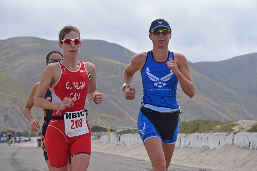 When Maj. Jamie Turner (right) is not serving in uniform as a Reservist in the 317th Airlift Squadron flying C-17 Globemaster IIs, or as a FedEx pilot as a civilian, she represents the Air Force in triathlons around the world. Turner was recently selected with a hand full of other athletes to represent the United States at the 19th Annual CISM World Military Championship August 2017 in Warendorf, Germany. The competition, sponsored by the Conseil International du Sports Militaire, is held every four years, in the spirit of the Olympics. (Courtesy Photo)