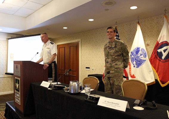 Maj. Gen. Terrence McKenrick, deputy commanding general, U.S. Army Central, introduces Gen. Joseph Votel, commander, U.S. Central Command, to the participants of the USARCENT CASA Land Forces Symposium in Alexandria, Va., June 19-22, 2017. The symposium gave senior leaders of USARCENT an op-portunity to hear from civilian and military experts on the Middle East and Cen-tral and South Asia, such as Votel. (U.S. Army photo by Sgt. Matt Kuzara)