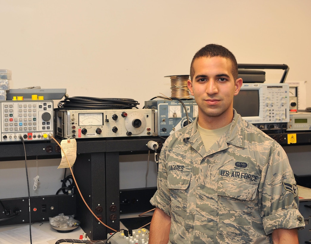 Airman 1st Class Luca Lagares, 9th Communications Squadron radio frequency transmission technician, poses for a photo June 21, 2017 at Beale Air Force Base, California. (U.S. Air Force photo/Airman 1st Class Tristan D. Viglianco)