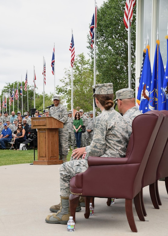 Major General Anthony Cotton, 20th Air Force Commander, speaks at the 90th Missile Wing change of command ceremony on the Argonne Parade Field at F.E. Warren Air Force Base, Wyo., June 23, 2017. Cotton spoke of Col. Stephen Kravitsky's achievements during his tenure at the 90th Missile Wing, as well as why Col. Stacy Huser is the right fit to succeed Kravitsky and assume command of the Wing. (U.S. Air Force photo by Glenn S. Robertson)