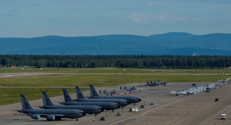 U.S. Air Force aircraft sit on the flight line during RED FLAG-Alaska 17-2 June 19, 2017, at Eielson Air Force Base, Alaska. RED FLAG-Alaska provides an optimal training environment in the Indo-Asia Pacific Region and focuses on improving ground, space, and cyberspace combat readiness and interoperability for U.S. and international forces. (US Air Force photo by Airman 1st Class Sean Carnes)
