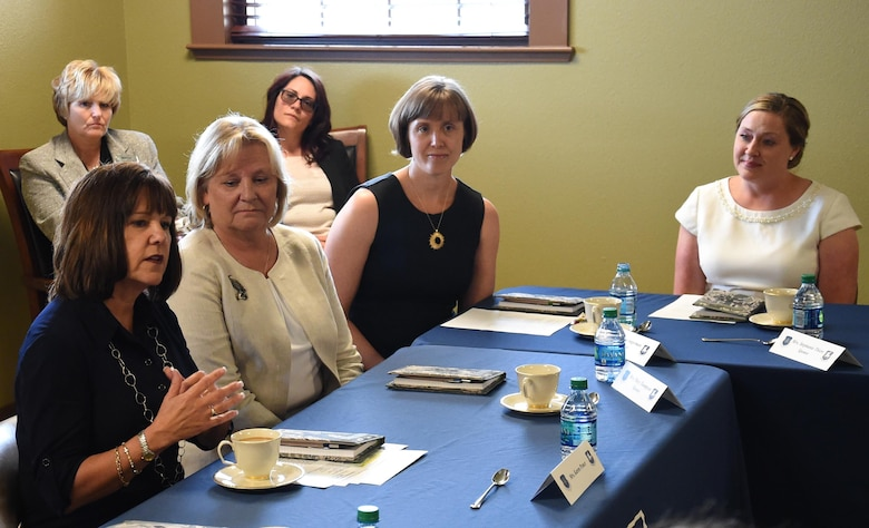 Mrs. Karen Pence, the second lady, discusses the challenges and triumphs of being a military spouse with key spouses at Schriever Air Force Base, Colorado, Friday, June 23, 2017. Pence also met with members of the installation's helping agencies to learn how they overcome Schriever's unique challenges. The visit was part of her husband's, Vice President Mike Pence, first trip to the base. (U.S. Air Force photo/Staff Sgt. Wes Wright)