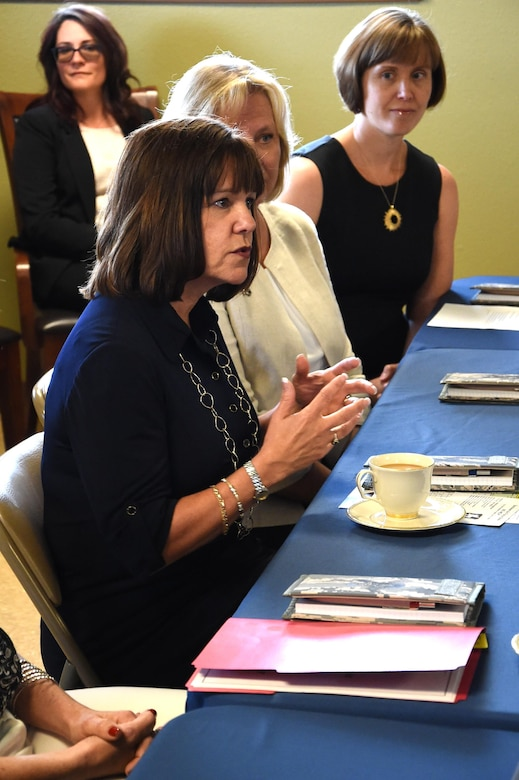Mrs. Karen Pence, the second lady, gives Schriever Air Force Base's helping agencies members her perspective on art therapy during a visit to the base, Friday, June 23, 2017. Pence also met with Schriever key spouses and listened to their challenges and triumphs within military life. Pence accompanied her husband, Vice President Mike Pence, on his first trip to the base. (U.S. Air Force photo/Staff Sgt. Wes Wright)