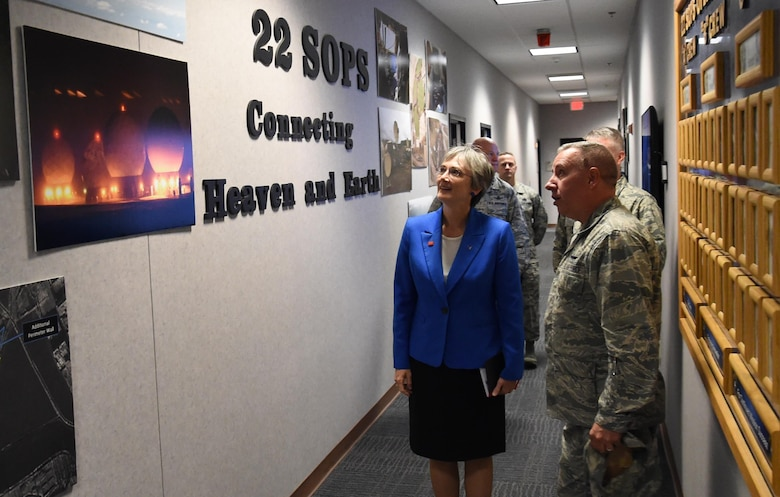 Secretary of the Air Force, Dr. Heather Wilson, tours the 22nd Space Operations Squadron during a visit to Schriever Air Force Base, Colorado, Friday, June 23, 2017. Wilson accompanied Vice President Mike Pence during the trip, which marked the first time a vice president has visited the base. Wilson, who has made space one of her early priorities, has now visited Schriever twice since her appointment as secretary in May. (U.S. Air Force photo/Staff Sgt. Wes Wright)