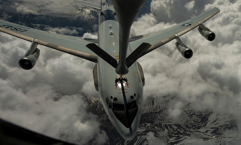 A U.S. Air Force E-3 Sentry receives fuel from a KC-135 Stratotanker during RED FLAG-Alaska 17-2 June 16, 2017, at Eielson Air Force Base, Alaska. RED FLAG-Alaska provides an optimal training environment in the Indo-Asia Pacific Region and focuses on improving ground, space, and cyberspace combat readiness and interoperability for U.S. and international forces. (U.S. Air Force photo by Staff Sgt Douglas Ellis)