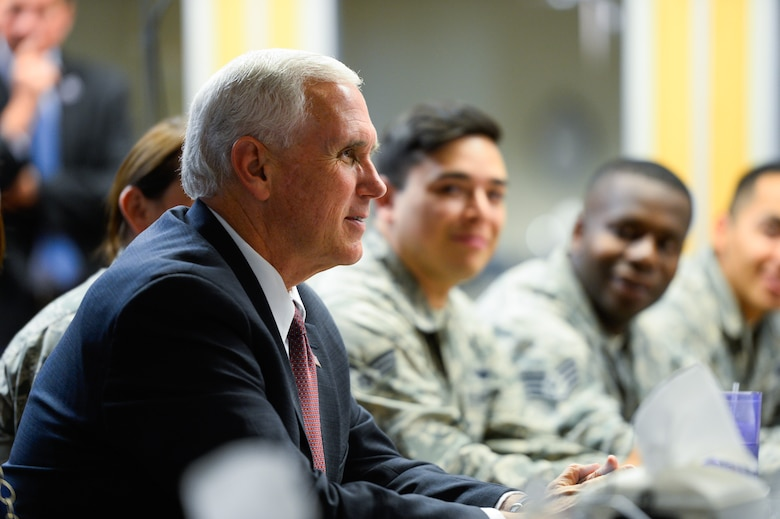 Vice President Mike Pence visited with airmen during a luncheon at Schriever Air Force Base, Colo., Friday June 22, 2017. During his visit, Pence spoke with base personnel on important topics such as the the Air Force Space command budget and thanked the member present for their service and dedication to duty. (U.S. Air Force photo/Christopher DeWitt)