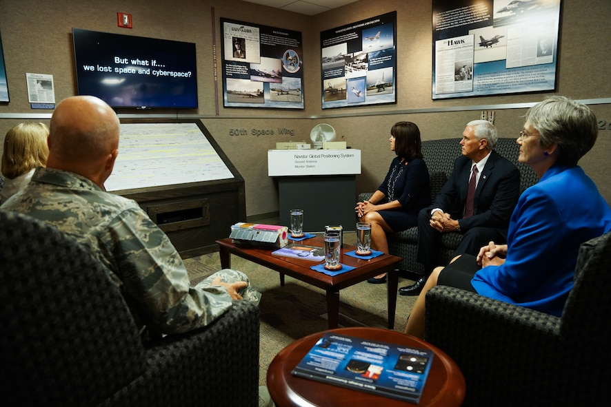 Vice President Mike Pence watches a video on the combat effects space operators bring to the fight and the risks of not protecting military satellites, during his visit at Schriever Air Force Base, Colo., Friday, June 22, 2017. Pence also toured the 2nd Space Operations Squadron and sent a command to a Global Positioning System satellite during his visit. The Vice President was on base for a space orientation in support of the administration's relaunch of the National Space Council. (U.S. Air Force photo/Christopher DeWitt)