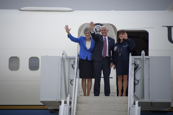 PETERSON AIR FORCE BASE, Colo. - Vice President Mike Pence alongside his