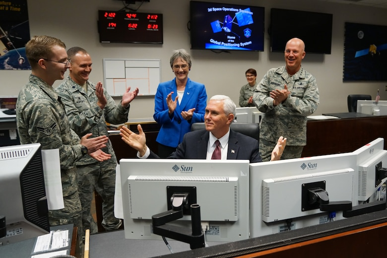 SCHRIEVER AIR FORCE BASE, Colo. -- Vice President Mike Pence visits Peterson AFB, Schriever AFB and Cheyenne Mountain Air Force Station for a closer look at how space plays an integral role in military operations., June 23, 2017. (U.S. Air Force photo/Christopher DeWitt)