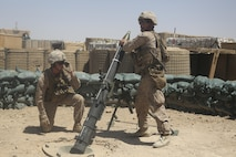 A Marine with Task Force Southwest inserts a round into a 120mm mortar during a registration mission at Camp Shorab, Afghanistan, June 23, 2017. The event allowed for the proper registration of mortar systems, improving base security, while also sustaining the Marines' mortar gunnery skills. (U.S. Marine Corps photo by Sgt. Lucas Hopkins)
