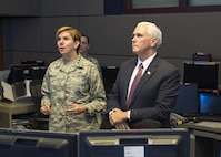 Vice President Michael Pence receives a mission briefing from U.S. Air Force General Lori J. Robinson, the commander of the North American Aerospace Defense Command and U.S. Northern Command inside the Alternate Command Center at Cheyenne Mountain Air Force Station, June 23, 2017. The Vice President was accompanied by the Secretary of the Air Force, the Honorable Heather Wilson, and received briefings to better familiarize them with the unique mission that NORAD and USNORTHCOM have in defense of Canada and the United States.  (DoD Photo By: N&NC Public Affairs/Released)