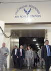 Vice President Michael Pence and U.S. Air Force General Lori J. Robinson, the commander of the North American Aerospace Defense Command and U.S. Northern Command exit the blast doors inside Cheyenne Mountain Air Force Station, June 23, 2017. The Vice President was accompanied by the Secretary of the Air Force, the Honorable Heather Wilson, and received briefings to better familiarize them with the unique mission that NORAD and USNORTHCOM have in defense of Canada and the United States. (DoD Photo By: N&NC Public Affairs/Released)