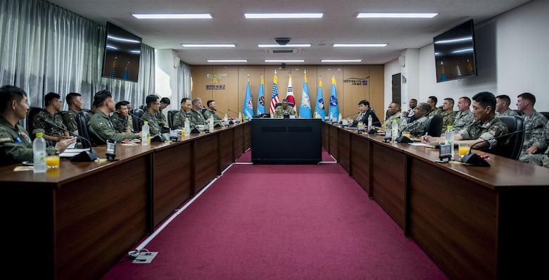 U.S. Army Gen. Vincent K. Brooks, U.S. Forces Korea commander, receives a briefing about the Republic of Korea Air Force and U.S. Air Force partnership June 22, 2017, while in the 38th Fighter Group Headquarters at Kunsan Air Base, Republic of Korea. 38th FG leadership briefed Brooks on the Republic of Korea Air Force heritage and how they've progressed to a integrated fighting force with the U.S. for the defense of Korean peninsula. (U.S. Air Force photo by Senior Airman Colville McFee/Released)