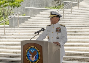 HONOLULU (June 25, 2017)—Adm. Harry Harris, commander of U.S. Pacific Command, gives his remarks during the 67th annual Korean War Memorial Ceremony at the National Memorial Cemetery of the Pacific. Active-duty military, decorated veterans, government officials, community and family members gathered during the ceremony to remember and honor fallen military veterans. (U.S. Navy photo by Mass Communication Specialist 2nd Class Robin W. Peak/Released)