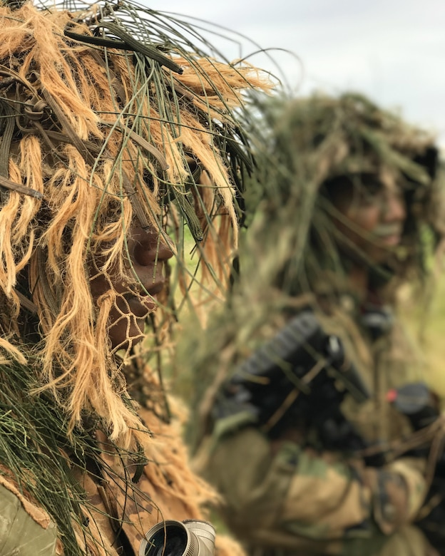 Soldiers of the 100th Battalion don Ghillie suits, June 18, 2017, in preparation for their mock ambush on opposing forces during their annual training at Kahuku Training Area.