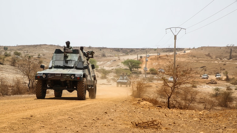 Armored vehicles with Senegal's 5th Contingent in Mali and U.S. Marines with Special Purpose Marine Air-Ground Task Force – Crisis Response – Africa conduct convoy operations during a peacekeeping operations training mission at Thies, Senegal, June 6, 2017. Marines and Sailors with SPMAGTF-CR-AF served as instructors and designed the training to enhance the soldiers' abilities to successfully deploy in support of United Nations peacekeeping missions in the continent. (U.S. Marine Corps photo by Sgt. Samuel Guerra/Released)