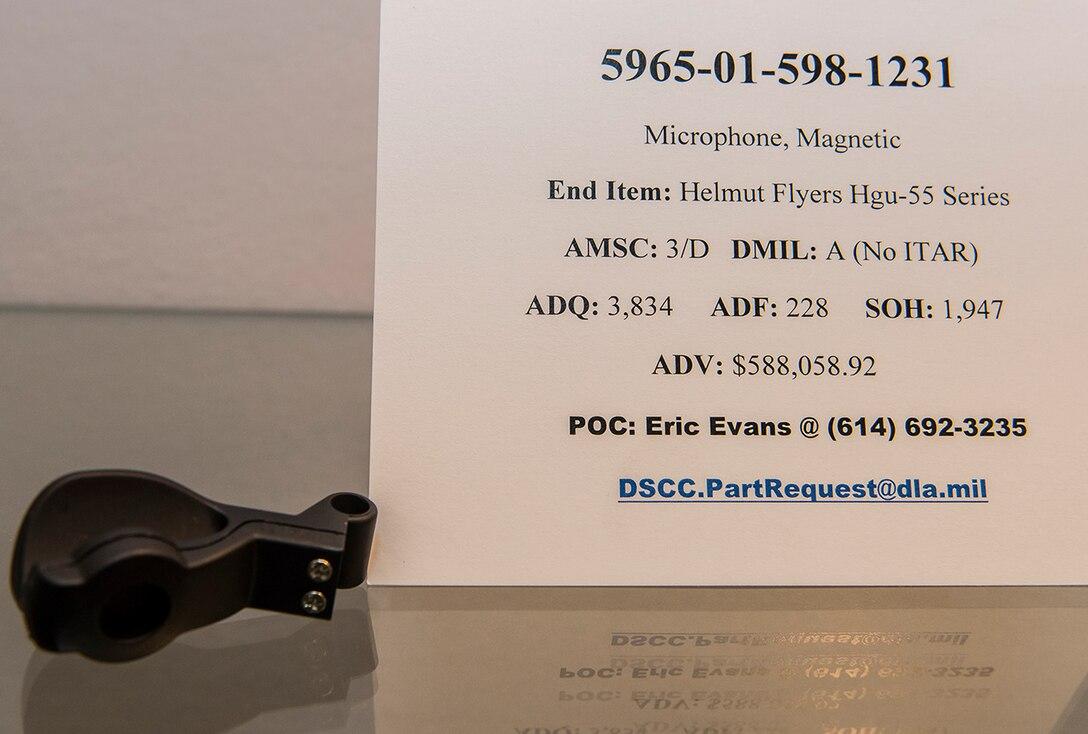 5965-01-598-1231  microphone, magnetic End Item Helmut Flyers Hgu-55 Series AMSC: 3/D  -  DMIL: A (No ITAR)  -  ADQ: 3,834  -  ADF: 228 -  SOH: 1,947  -  ADV: $588,058.92 dscc.partrequest@dla.mil