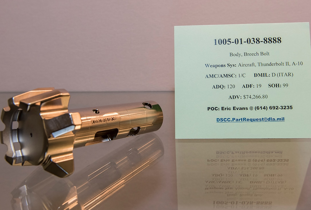 1005-01-038-8888  Body, Breech Bolt Weapons Sys: Aircraft, Thunderbolt II, A-10 AMC/AMSC: 1/C  -  DMIL: D (ITAR)  -  ADQ: 120  -  ADF: 19 -  SOH: 99  -  ADV: $74,266.80 dscc.partrequest@dla.mil