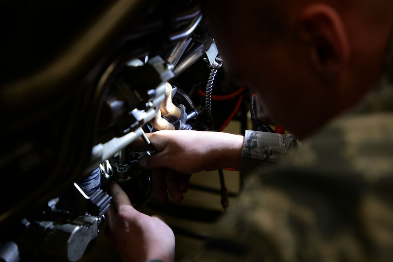 U.S. Air Force Airman Christian Lank, 20th Component Maintenance Squadron aerospace propulsion apprentice, works on removing the accessory drive gearbox of an F-16CM Fighting Falcon during training at the 372nd Training Squadron, Detachment 202 F-16 Field Training Detachment (FTD) at Shaw Air Force Base, S.C., April 25, 2017. The FTD aims to improve upon the existing skills of maintainers, through teaching advanced techniques and troubleshooting procedures. (U.S. Air Force photo by Senior Airman Kelsey Tucker)