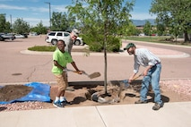 Col. Eric Dorminey, 21st Space Wing vice commander, along with Andy Schlosberg from the Colorado State Forest Service (right) and Quinten Jordan fill in the dirt around a tree that was planted for Arbor Day on Peterson Air Force Base, Colo., June 20, 2017. Two trees were planted during the ceremony, which add to the nearly 10,000 trees currently on Peterson AFB. (U.S. Air Force photo by Steve Kotecki)