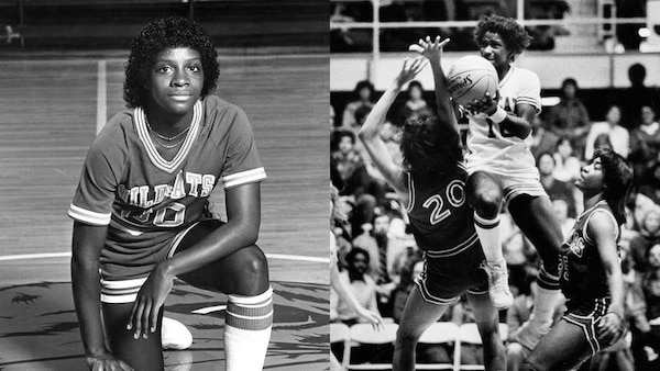 (Left) Sweeney's team portrait. (Right) Priscilla Gary Sweeney using her 40-inch vertical leap to score two of her 1,169 career points.