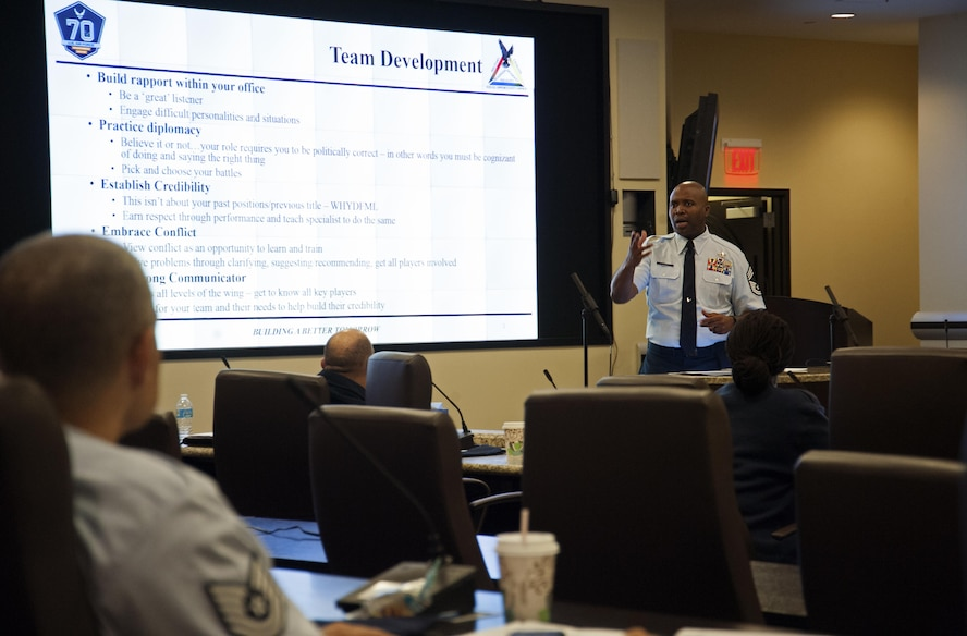 Chief Master Sgt. Larry Jones, 10th Force Support Squadron superintendent, talks about developing a team during the 2017 Equal Opportunity Worldwide Training Workshop at Joint Base Andrews, Md., June 15, 2017. The week-long training featured daily breakout sessions providing senior leader led discussions as well as small group sessions. (U.S. Air Force photo by Christopher Hurd)