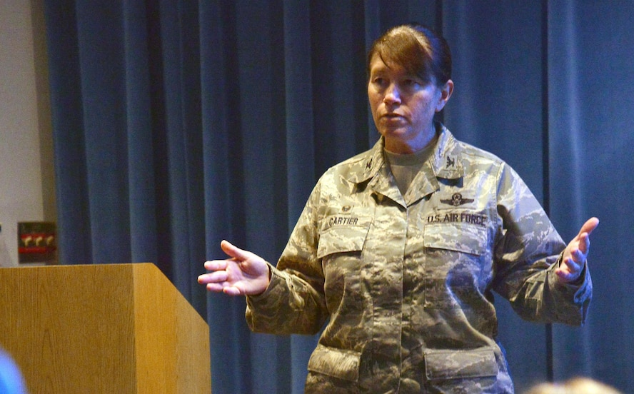 "Colonel Brenda Cartier, 58th Special Operations Wing commander, speaks at a special ""Pride"" themed Kirtland Talks in celebration of LGBT month June 21."
