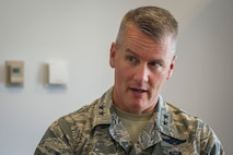 Maj. Gen. James A. Jacobson, commander, Air Force District of Washington, answers questions about his vision for AFDW, June 23, 2017, after taking command of the unit.