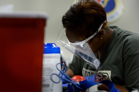 A LifeShare technician fills out paperwork at the 2017 LifeShare Blood Drive at Barksdale Air Force Base, La., June 16, 2017. One pint of donated blood can help up to three people. (U.S. Air Force Photo/Airman 1st Class Sydney Bennett)