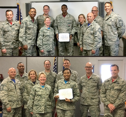 June's Chief's Choice Award presentation by the Tinker Chief's Group recognizes two of Tinker's finest: Staff Sgt. Mark Pough of the 349th Recruiting Squadron, and Airman 1st Class Crystal Byers, with the 72nd Force Support Squadron.