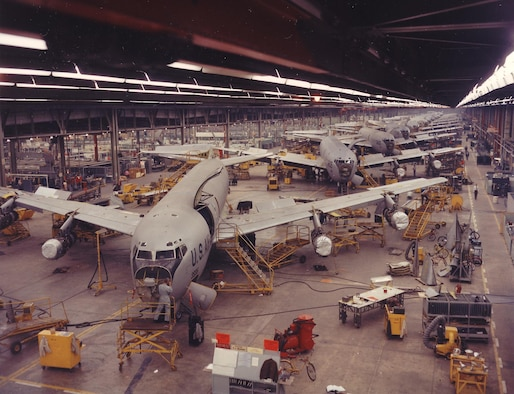 KC-135s line the Bldg. 3001 shop floor in the 1960s. (Photo courtesy of the Tinker History Office)
