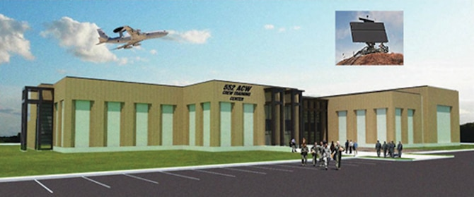 Graphic rendering of the new 552nd Air Control Wing training facility's consolidated simulator building. (Courtesy graphic rendering)