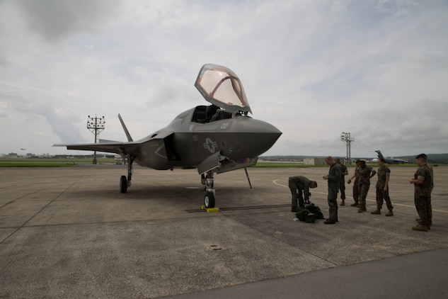 A U.S. Marine Corps F-35B Lightning II aircraft with Marine Fighter Attack Squadron 121, Marine Aircraft Group 12, 1st Marine Aircraft Wing, conducted a training flight from Marine Corps Air Station Iwakuni to Kadena Air Force Base, Okinawa, Japan, June 26, 2017. The Marines with VMFA- 121 worked alongside Airmen with the 18th Wing. This event marked the first time an F-35B Lightning II landed in Okinawa. (U.S. Marine Corps photo by Lance Cpl. Charles Plouffe)