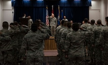 U.S. Air Force Maj. Tyler Hess, 39th Comptroller Squadron incoming commander, renders his first salute, as commander, to 39th CPTS Airmen, June 26, 2017, at Incirlik Air Base, Turkey. A change of command ceremony is a tradition that represents a formal transfer of authority and responsibility from the outgoing commander to the incoming commander. (U.S. Air Force photo by Airman 1st Class Devin M. Rumbaugh)