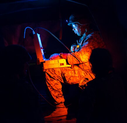U.S. Marine Corps Staff Sgt. Nijal Dunn, an explosive ordnance disposal technician with Marine Wing Support Squadron (MWSS) 171, based out of Marine Corps Air Station Iwakuni, investigates a potential improvised explosive device during exercise Eagle Wrath 2017 at Combined Arms Training Center Camp Fuji, Japan, June 16, 2017. Eagle Wrath 2017 is a two-week training evolution focusing on air base ground defense, establishing forward operating bases and forward arming and refueling points in an austere environment as a way to support Marine Aircraft Group 12. (U.S. Marine Corps photo by Lance Cpl. Stephen Campbell)