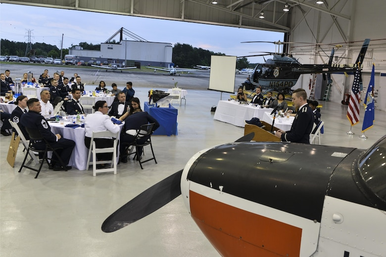 The 22d Intelligence Squadron celebrates its 100th anniversary June 16, 2017 as the oldest squadron under the 70th Intelligence, Surveillance and Reconnaissance Wing and one of the oldest military units on Fort George G. Meade, Maryland. Servicemembers from all branches, family members and civilians from the squadron commemorated the centennial with a military dining-out. (U.S. Air Force photo/Staff Sgt. Alexandre Montes)