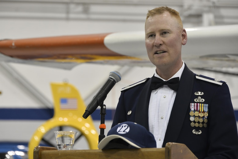 Lt. Col. Dan Newton, 22d Intelligence Squadron commander, speaks during the 22d IS Centennial event, June 16, 2017, at Fort George G. Meade, Maryland. The 22d IS celebrated its 100th anniversary as the oldest squadron under the 70th Intelligence, Surveillance and Reconnaissance Wing and one of the oldest military units on Fort George G. Meade, Maryland. (U.S. Air Force photo/Staff Sgt. Alexandre Montes)