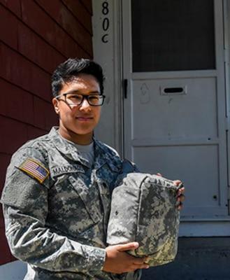 Spc. Julissa Maldonado, 21, a member of the Massachusetts National Guard, used