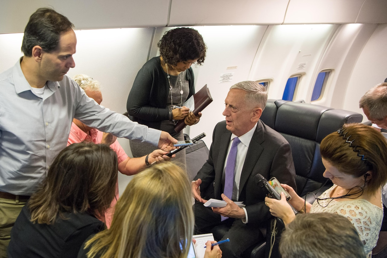Defense Secretary Jim Mattis speaks to reporters during a flight to Germany, June 26, 2017. DoD photo by Air Force Staff Sgt. Jette Carr