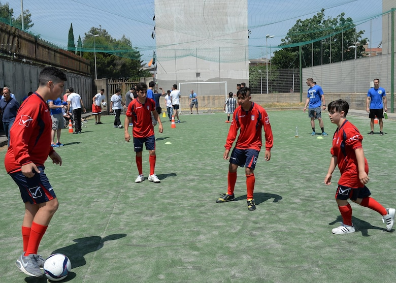 Children play soccer during a Special Olympics event in Catania, Sicily, June 7, 2017. The event was coordinated by Airmen deployed to the 324th Expeditionary Reconnaissance Squadron to give local children with disabilities and outlet to have fun, exercise, and socialize. (U.S. Air Force photo by Senior Airman Jimmie D. Pike)