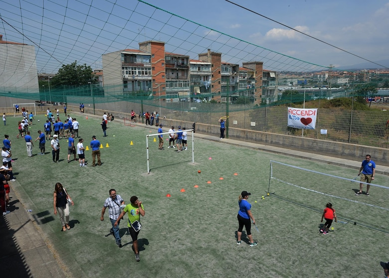 Volunteers and participants play a variety of sports games during a Special Olympics event in Catania, Sicily, June 7, 2017. The event's sports lineup included soccer, basketball, badminton, and field hockey. (U.S. Air Force photo by Senior Airman Jimmie D. Pike)